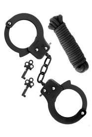 METAL CUFFS & ROPE BLACK