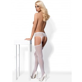 S307 GARTER STOCKINGS - BLANC - TU