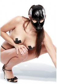 LATEX BALL GAG MASK BLACK